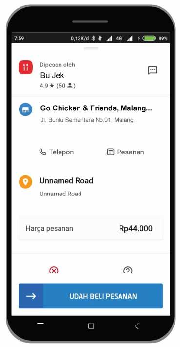 tampilan Order Go-food driver versi Baru