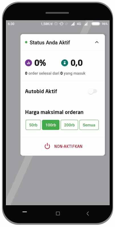tampilan fitur autobid aplikasi gojek driver