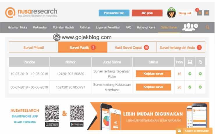 Dapatkan GoPay Gratis Dengan Isi Survei Online di Nusaresearch