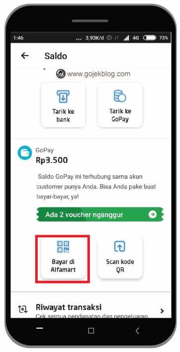 Cara Bayar di Alfamart Menggunakan Gopay di Aplikasi Driver Gojek