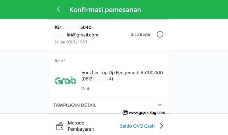 Top up saldo grab driver melalui agen GrabKios