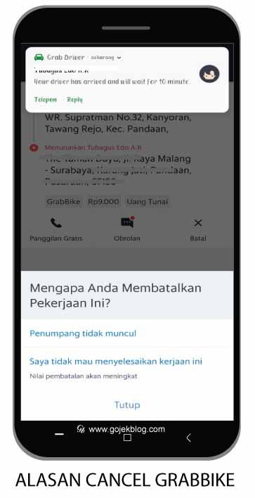 Alasan cancel order Grab di aplikasi driver
